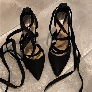 Suede Black Pointed Heels with Straps